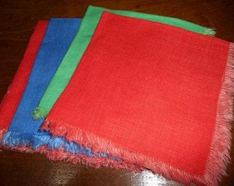 Set of 4, bright Napkins 2 orange, 1 blue, 1 green