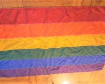 Rainbow Gay Lesbian Pride Flag with Sewn Stripes - Made in USA - Huge 4 ft x 6