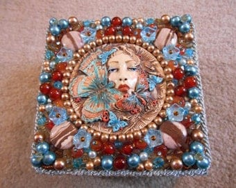 Beautiful OOAK Beaded Trinket Box Encrusted with Semi Precious Agate, Jasper and Carnelian with Pearls, Flower Beads and Swarovski Crystals