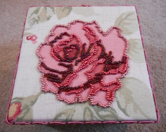 Beautiful OOAK Seed Bead Embroidered Rose Trinket Box