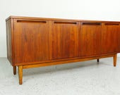 mid century modern American Of Martinsville 4 door walnut credenza sideboard media cabinet