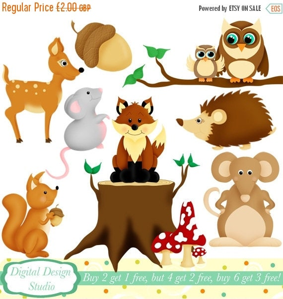 HALF PRICE SALE Woodland animals clip art set, 10 designs. Instant Download for Personal and commercial use.