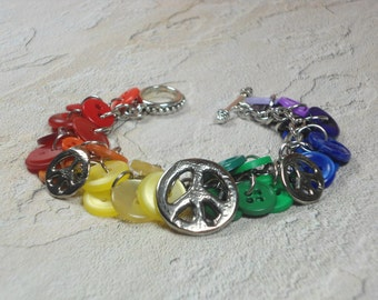 Rainbow Button Bracelet Peace Sign Charm Jewelry Handmade Gifts for Her New Age Women Quilters Birthday BJGB74