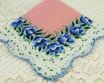 Vintage Hankie Pink, White, Blue  E-13