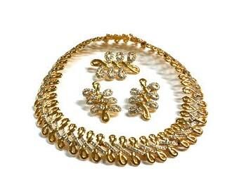 Vintage Signed Swarovski Gold Crystal Demi Parue Set RARE