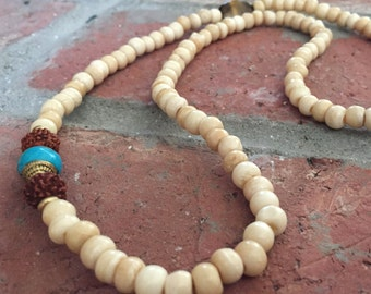108 Bead Bone Mala with Turquoise Tibetan Capped Bead and Rudruksha