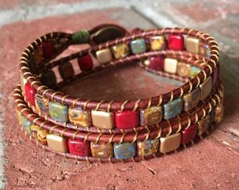 Bohemian Bracelet, Wrap Bracelet, Leather Wrap, Red and Gold Leather Bracelet, Leather Bracelet, Leather Choker, Om Button