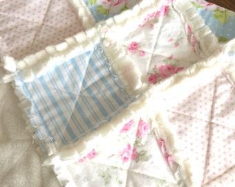Pink, white, blue super soft vintage inspired floral minky baby girl rag quilt, photo prop, lovey blanket