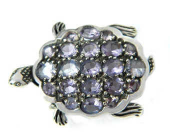 Art Deco Turtle Brooch Pendant Amethyst Glass Sterling Silver Vintage Animal Jewelry Pin Collectible For Women Gifts For Her Jewelry