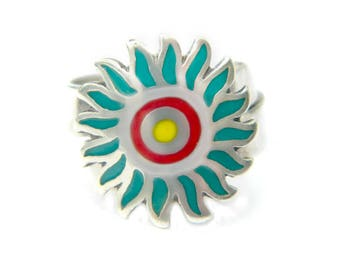 Taxco Mexico Enamel Sterling Sun Ring Margot de Taxco Style Eagle 214 Turquoise Yellow Red Sun Burst Gift For Women Size 7 Adjustable