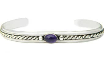 Amethyst Sterling Silver Cuff Bracelet Vintage Gemstone Jewelry For Women Gift For Mom For Wife February Birthstone Bracelet Purple Gem