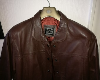 Vintage size M,  brown leather jacket,  size 14 approx.