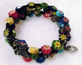 5 Decade Rosary bracelet, multi-colored Millefiori glass, memory wire, Five decade Rosary bracelet (163)