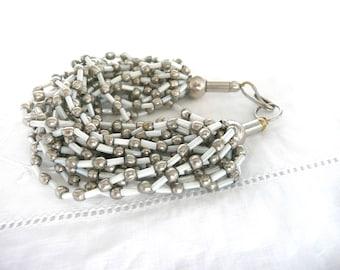 Vintage bead bracelet - silver metal and white bead bracelet - Indian bead bracelet - silver and white bead bracelet