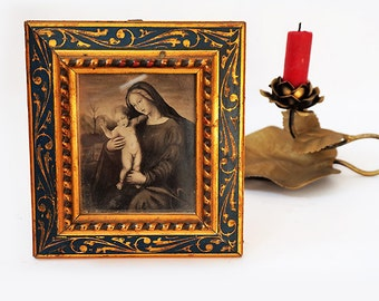 Florentine Virgin Mary and Child Art Wall Hanging, Vintage Italian Religious Art,Virgin Mary Print On Medieval Style Frame.