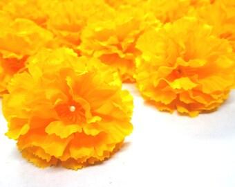 """2"""" Hawaiian Carnation Heads (Pack of 24) - Yellow - Artificial Flower, Silk Flower Heads"""