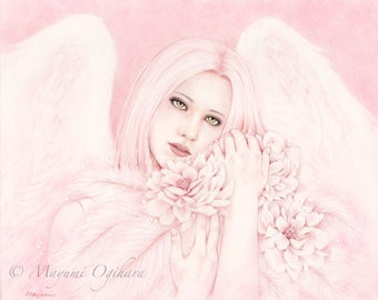Heavenly Dream - Open edition art print, colored pencil drawing, fantasy, angel, wings, flowers, dreamy, pink