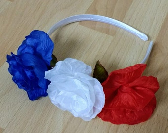 Rose headpiece, patriotic headband, fabric rose, festivals, British headband