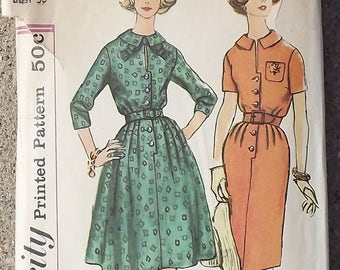 Vintage 1960's Simplicity Sewing Pattern For Misses Wiggle Dress Plus Full Skirt Option
