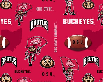 Licensed NCAA Ohio State Buckeyes All Over Fleece Fabric 60'' Wide Sold By The Yard