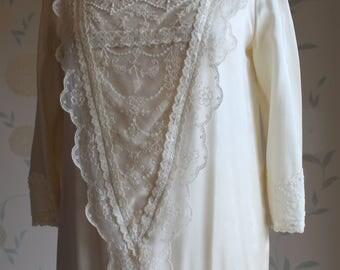 DOWNTON ABBEY Style Vintage WEDDING Gown Cream Silk Uk Size 10 stunning
