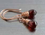 Garnet Earrings, Rose Gold, Red Garnet, Handmade, Petite Dangle, January Birthstone