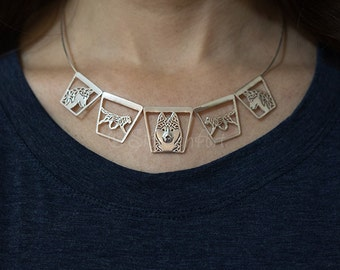 Siberian Husky trapezes necklace - Sterling silver