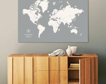 1st anniversary gift for her, Push Pin Map, World Map, Travel Map, Push pin World Map, World Map Push Pin, World Map Canvas, World Map Art