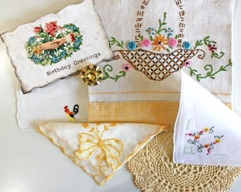 Vintage Supplies*Doily, Hanky, Salvaged Jewelry, Postcard*Junk Journal Supplies