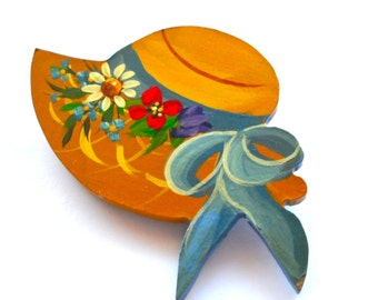 Spring Bonnet Figural Jewelry Hand Enameled Wood Brooch Pin , Vintage Folk Art , Signed L. Maghie, 1940s