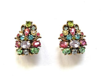 Hollycraft  Vintage Pastel Rhinestone Clip Earrings.  Marked Copr. 1950 .  Uniquely Hollycraft!