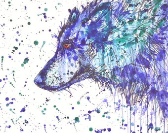 "Original painting animal""Blue wolf """