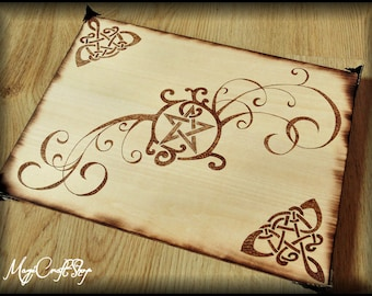TRIBAL PENTACLES altar base with celtic knots and branches - handmade and pyrographed
