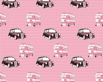 RIley Blake British Invasion Pink Taxi Cotton OOP HTF