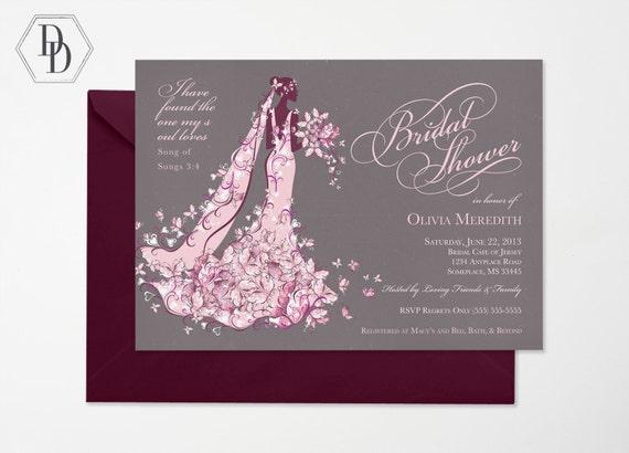 Wedding Invitation Wording Christian: Elegant Christian Bridal Shower Invitation Printable Shower