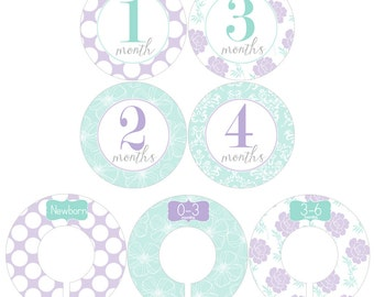 Monthly Stickers and Clothing Dividers Gift Set for Baby Girls in Lavender and Mint Green Designs - BGS011