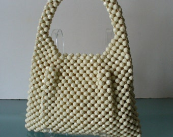 Vintage Delill Ivory Lucite Bead Made in Italy  Purse