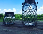 Three (3) total 6.9 in high Black Wire Net Lighted Mason Jars