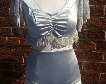 Vintage Dance Costume 3pc // Crop Top Fringe // High Waist Spandex Pinup Shorts