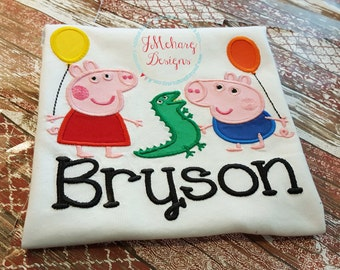 Peppa Pig & George Pig Birthday Custom Tee Shirt - Customizable -  Infant to Youth 279