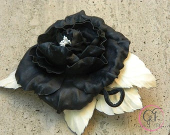 LEATHER  FLOWER ROSE   pin brooch hair hat clip, leather wedding anniversary gift, corsage flower, headpiece