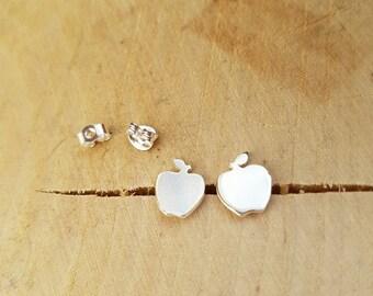 Silver Apple Stud Earrings Teacher Thank you Gift Apple Gift Silver Stud Sterling Apple