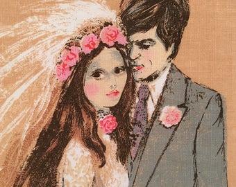Vintage Wedding Anniversaries Linen Retro Tea Towel Vintage Wedding