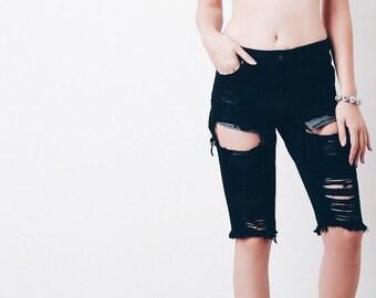 Black/Gray grunge distressed mid high waist bermudas/shorts/jean/beach/plus size/S-XXL/All Brands/levis lee etc