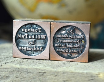 Copper Letterpress Postal Messages / Postage Will be Paid by Addressee / No Postage Stamp Necessary if Mailed in the US