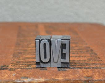 Ships Free - LOVE - Vintage letterpress metal type collection - wedding, anniversary, love, girlfriend, boyfriend, industrial TS1028