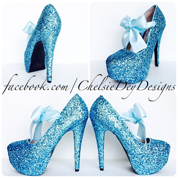Glitter High Heels Light Blue Platform Pumps by ChelsieDeyDesigns