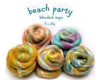 Blended roving - merino - silk - 5 x 20g (100g / 3.50z) - multi pack - BEACH PARTY