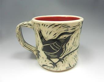 Pottery Coffee Mug Ceramic Clay handmade wheel thrown stoneware sgraffito hand carved Kim Losse Donna Millard black white bird nuthatch wren