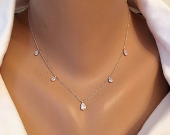Sterling Silver 925, Swarovski Raindrops Crystal Necklace, Crystal Charm Silver Necklace, Silver Layered Necklace, White Crystal Drops